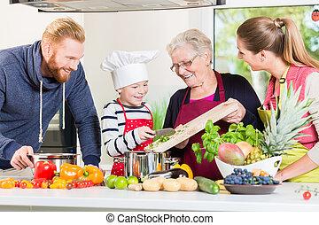 世帯, 料理, 家族, multigenerational