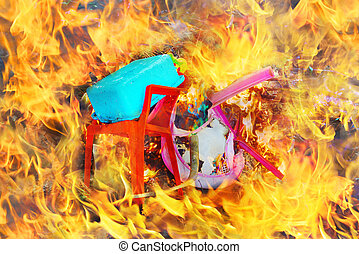 世帯, 燃焼, プラスチック
