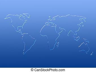 世界の地図, から, 低下, の, 水