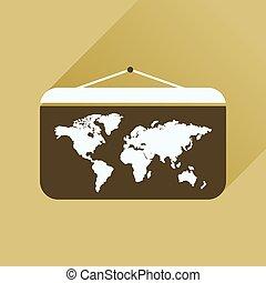 世界地図, アイコン, 長い間, 影, 平ら