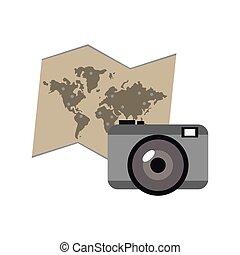 世界地図, カメラ, アイコン