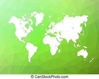 世界地図, シルエット, 上に, 低い, poly, 背景