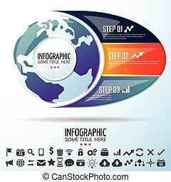 世界地図, デザイン, テンプレート, infographics
