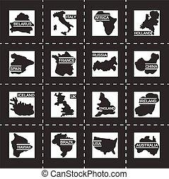 世界地図, ベクトル, セット, アイコン