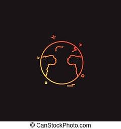 世界地図, ベクトル, デザイン, アイコン