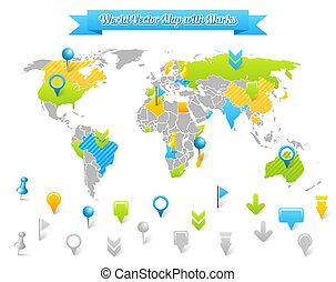 世界地図, ベクトル, 印