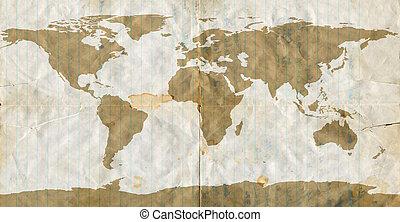 世界地図, ペーパー, 汚された, 葉, 緩い
