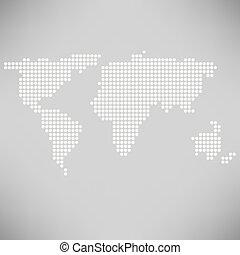 世界地図, 抽象的, 点を打たれた