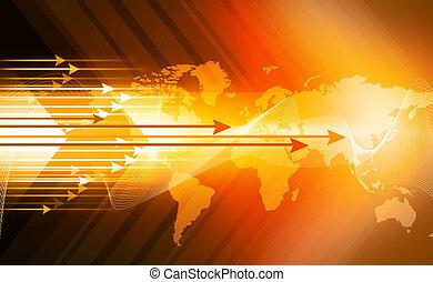 世界地図, 背景, 抽象的, デジタル, 矢