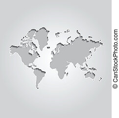 世界地図, 背景, 灰色
