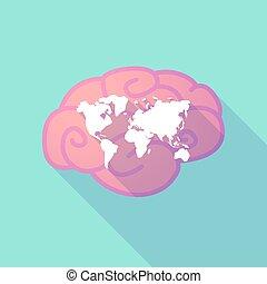 世界地図, 脳, 長い間, 影