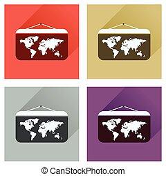 世界地図, 長い間, 影, アイコン, 概念, 平ら