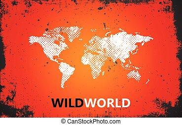 世界地図, illustration., 野生, 世界, poster., グランジ, ポスター