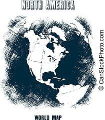 世界地图, grunge., eps, 10