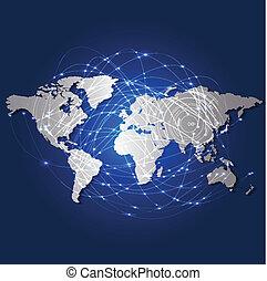 世界地圖, 以及, 技術, 濾網, 网絡, 矢量, 插圖