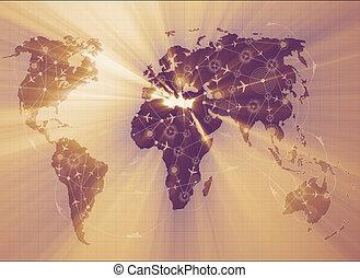 世界地圖, 在, 運輸, 概念