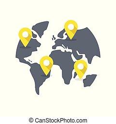 世界地圖, 目的地, pins.