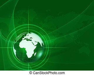 世界地球儀, 光線, 緑, 網