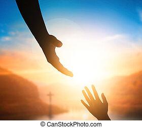 世界平和, 日, concept:silhouette, の, イエス・キリスト, 達すること, 手