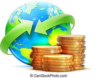 世界的である, お金, 概念, 移動