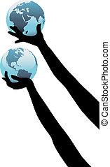 世界的である, の上, 人, 地球, 手, 世界, 把握