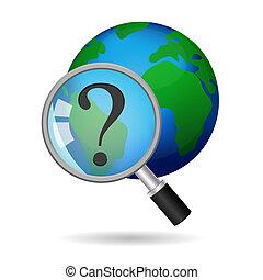 世界的である, アイコン, ベクトル, 捜索しなさい, 概念