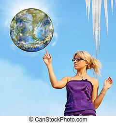 世界的である, エコロジー, 概念, warming.