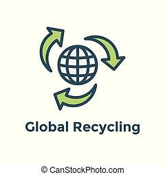 世界的である, エネルギー, リサイクル, 解決, /, 緑, きれいにしなさい, 努力, 提示, アイコン