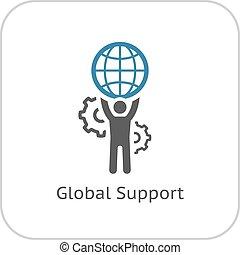 世界的である, サポート, icon., 平ら, design.