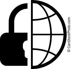 世界的である, セキュリティー, icon., 平ら, design.
