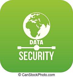 世界的である, データ機密保護, アイコン, 緑, ベクトル
