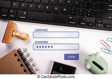 世界的である, パスワード, 接続, ユーザー名, ネットワーク, login.