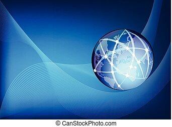 世界的である, ベクトル, ビジネス, ネットワーク, 背景