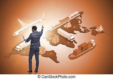 世界的である, ロジスティクス, ビジネスマン, 概念