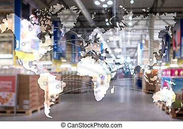 世界的である, 地図, partnership., ロジスティクス, concept., エクスポート, 輸入