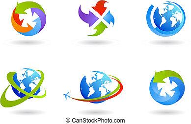世界的である, 地球儀, セット, ビジネス, アイコン