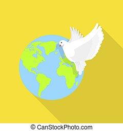 世界的である, 平和, ハト, アイコン, 平ら, スタイル