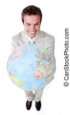 世界的である, 拡大, ビジネス, 微笑, ビジネスマン, 空想家