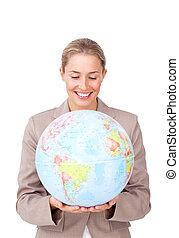 世界的である, 拡大, ビジネス, 微笑, 女性実業家, 空想家