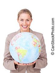世界的である, 拡大, ビジネス, 微笑, 女性実業家, 若い