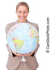 世界的である, 拡大, ビジネス, 微笑, 女性実業家, charismatic