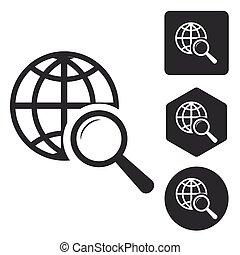 世界的である, 捜索しなさい, アイコン, セット, モノクローム