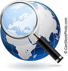 世界的である, 捜索しなさい, 概念, 隔離された, 白, バックグラウンド。, eps10, file.