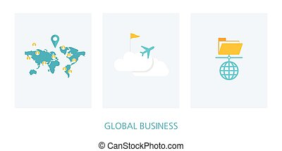 世界的である, 概念, セット, ビジネス, アイコン