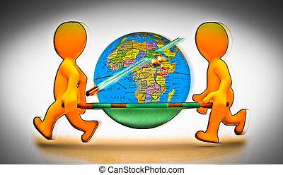 世界的である, 概念, 止まれ, メッセージ, 暖まること