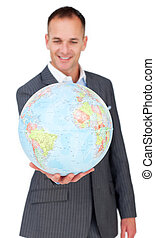 世界的である, 確信があった, 拡大, ビジネス, 微笑, ビジネスマン