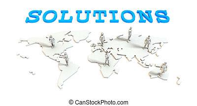 世界的である, 解決, ビジネス