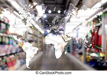 世界的である, 輸入, エクスポート, partnership., 地図, ロジスティクス, concept.