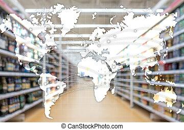 世界的である, 輸入, partnership., ロジスティクス, エクスポート, concept., 地図
