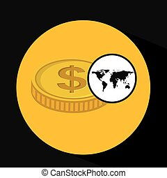 世界的である, 通貨, 概念, ビジネス, アイコン